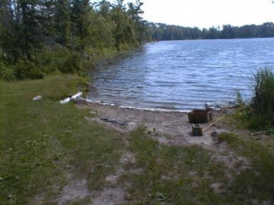 Grassy Shore of Kelly Lake with Small Sand Beach